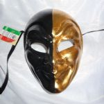 Mens Genuine 24k Gold Leaf Venetian Joker Mask